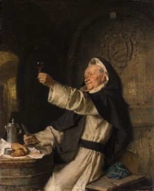 Cistercian monk toasting